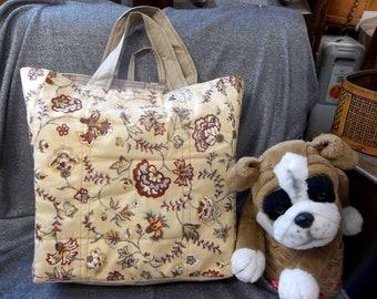 Cotton Shopping Tote Bag, Old Fashion Flowers Tan Print
