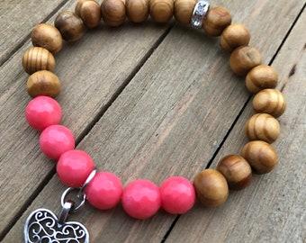 Pink coral, cherry wood, heart charm, rhinestone, 8mm, gemstone, bracelet, jewelry