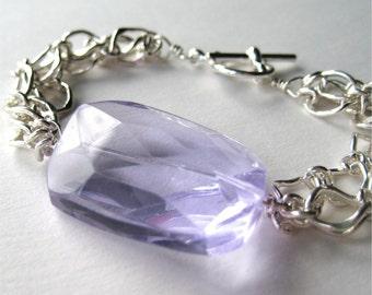 Periwinkle Crystal Bracelet, Silver Chain Bracelet, Faceted Light Purple Crystal, Handmade, Delilah