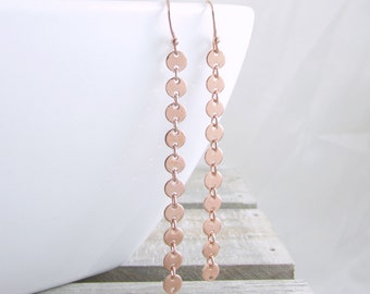 Rose Gold Disc Earrings Disc Chain Earrings Rose Gold Earrings Gift Ideas For Mom Gift For Girlfriend Long Dangle Earrings Unique Earrings