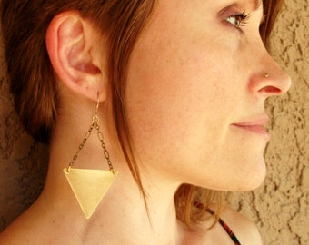 Brass-Gold-Triangle-Chain-Dangle-Earrings / Free US Shipping