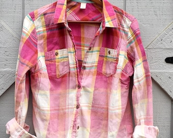Bleached Flannel- Ombre Flannel, Plaid Shirt, Women, Vintage Washed Flannel, Distressed Flannel, Flannel Shirt, Bleached Shirt, Boho Shirt