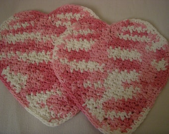 Crocheted Heart Shaped Dishcltohs, Pink Variegated, Set of 2, 100% Cotton Yarn