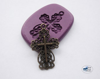 Cross Charm Mold - Vintage Style Filigree Cross Mold- Mini Mold -Silicone Molds - Polymer Clay Resin Fondant