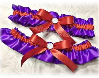 Regency purple and persimmon weddings bridal garter set, keepsake and toss garters.  Prom garters.
