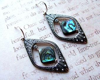 Abalone Earrings, Blue Earrings, Art Nouveau Earrings, Victorian Earrings, Art Deco Earrings, Shell Earring, Abalone Jewelry, Dangle Earring