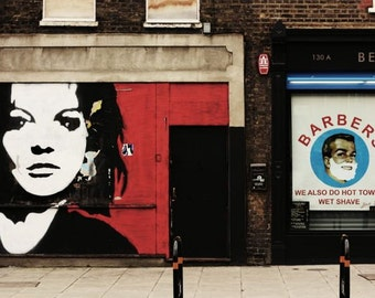East London Photography - Street Art Print - Mural - Hot Towel, Wet Shave - Shop Front