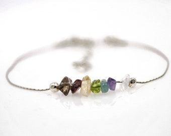 Chakra Bracelet Dainty Bracelet Ankle Bracelet Raw Crystal Bracelet Dainty Anklet Minimalist Jewelry Chakra Balancing Raw Chakra Crystals