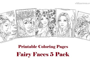 Set of 5 coloring pages - Fairy Faces 5 Pack Instant Download Printable Files