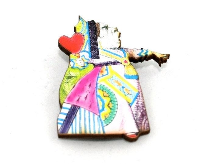 Queen of Hearts Brooch, Alice in Wonderland Brooch, Tenniel Illustration