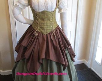 DDNJ 4pc Choose Fabrics Reversible Corset Style Bodice Chemise Petal Skirt FL Skirt  Plus Custom Made ANY Size Anime Costume Medieval Pirate