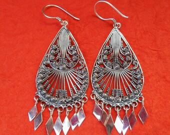 Balinese Sterling Silver dangle Earrings / 2.65 inches long  / Bali handmade jewelry / silver 925 / (#156e)