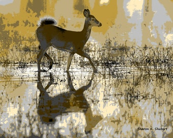 Deer Art, Golden Yellow Gray Home Decor, Abstract Realism, Southwestern Animal, Hagerman Wildlife Refuge, Wall Hanging, Giclee Print, 8 x 10