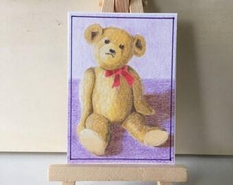 Teddy Bear, ACEO, Much Loved Old Bear, ATC art card