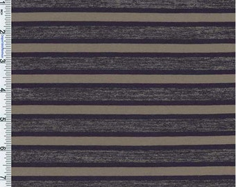 Navy/Brown Stripe Poly Jersey Knit, Fabric By The Yard