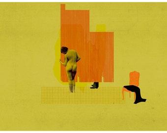 secret love -  art print - mixed media digital collage