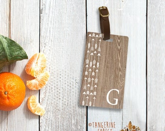 Faux Wood & Arrows Personalized Luggage Tag