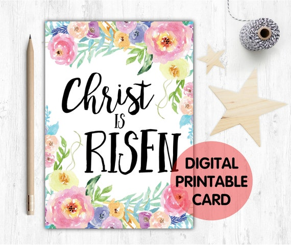 easter card printable, he is risen, christ is risen, christian easter card, bible verse easter card, he is risen card, christ is risen card