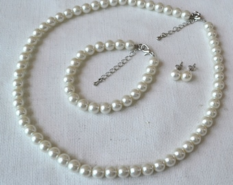 ivory glass bead set, 8mm pearl necklace pearl bracelet and pearl earrings set,wedding bridesmaids pearl set,glass pearls set