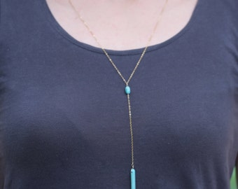 Turquoise Necklace, Beaded Necklace, Lariat & Y Necklace, Turquoise Jewelry
