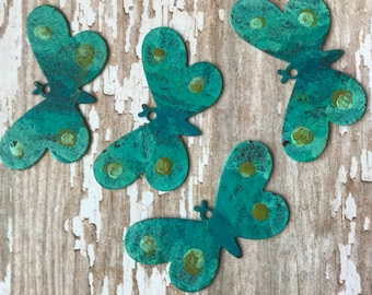 Turquoise Aqua BUTTERFLY CHARMS, Patina Metal, Earring Pairs, patina, earring charms, earring dangles, dangles, earrings, earring components