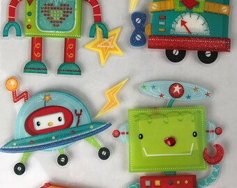 Robot Stickers Set Of Two Sheets 3D Accent Scrapbook Embelishment Boys Birthday Party Supply Space Ship Robot Dog by picadillymarket