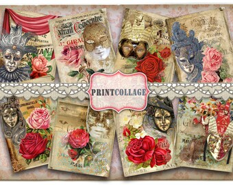 Carnival Mask Digital Collage Sheet Printable Designed Gift Tags and Cards for Scrapbooking Printable Paper for Jewelry Holders Tags T17