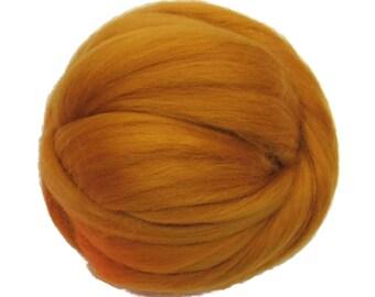 Merino / Silk  Roving, (Saffron)