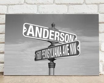 Personalized Black and White Street Sign Canvas Print - Personalized Street Sign - Housewarming Gift - Home Decor Gift - CA763