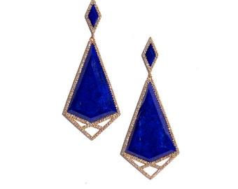 14k Pave Diamond Lapis Lazuli Geometric Earrings *Made To Order*