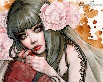 Carmilla's Awakening Art Print 6x8 Inches Fantasy Goth Art by Enys Guerrero