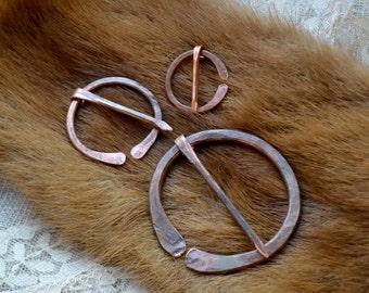 Shawl pin, shawl copper pin, penannular brooch, copper pin, Anglo-Saxon pin, Viking pin, penannular shawl pin, recycled copper shawl pin