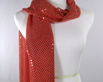 Holiday - Red Party Scarf - Red Long Scarf - Red  Sequin Scarf - Shiny Red Sequin Scarf - Dressy Long Scarf - Red Sequin Wrap