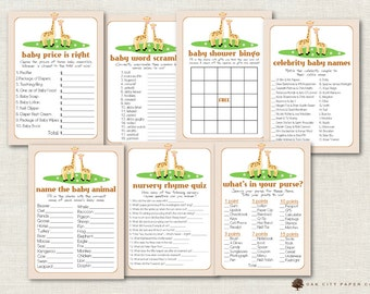 Giraffe Baby Shower Games - Baby Shower Games, Giraffe Shower Games, Jungle Animal Baby Shower Games, Safari, Giraffe Games - Printable, DIY