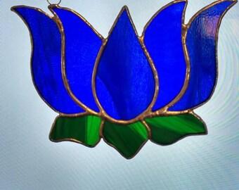 Blue Lotus Flower Stained Glass Suncatcher