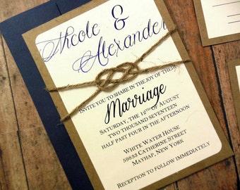 Navy Blue Cobalt Rustic Nautical Custom Wedding Invitation - 104