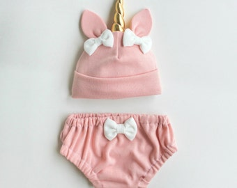 Pink Unicorn Baby Hat & Bloomers Set