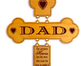 Father's Day Gift - Gifts for Daddy Personalized - Fathers Day Gift from Son - Daughter - Kids - Wall Cross