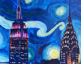 Starry Night in New York - Van Gogh Inspirations in Manhattan - Limited Edition Fine Art Print/Original Canvas Painting