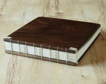 Wood Wedding Guest Book or Vacation Home Cabin Guestbook black walnut wood anniversary book lover gift custom memorial book - ready to ship