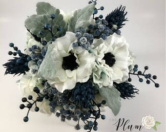 Navy Thistle White Poppy Anemone Bouquet : Alice in Wonderland White Poppy and Thistle Wedding Bouquet with Pocket Watch Accent