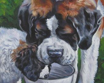 Saint st Bernard dog art CANVAS print of LA Shepard painting 8x8