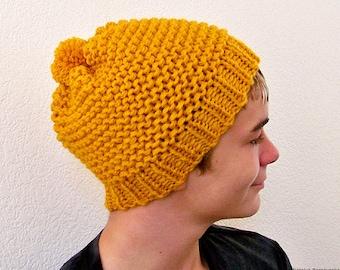 Knit Hat, Mens Knit Hat, Knit Hat with Pom Pom Hat, Mens Slouchy Beanie Men, Slouchy Hat, Slouch Beanie, Knit Slouch Hat, Mens Beanie