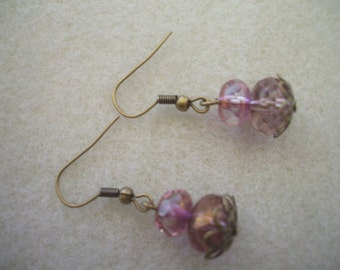 Amethyst Rondell earrings in Antiqued Brass