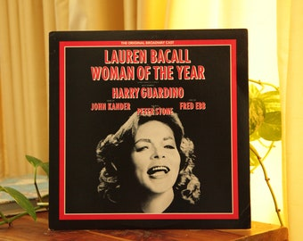 Lauren Bacall Woman of the Year Record, Vintage 1981 LP Album, Original Broadway Cast Musical Soundtrack Gift
