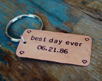 Best Day Ever, Wedding Anniversary Gift, Hand Stamped, Date Keychain, Bride Gift,Wife Anniversary Gift,7th Anniversary,Copper Gift For Women