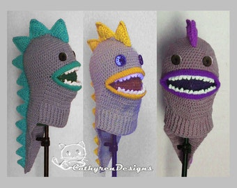 Dragon/Dinasaur Ski Mask with Tail, 5 Sizes Child-Adult, INSTANT DOWNLOAD Crochet Pattern