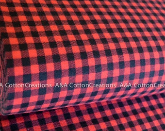 Burly Beavers Flannel Fabric, Plaid Flannel Cotton,Hipster fabric, Black Red Fabric, Robert Kaufman Fabrics Choose size and quant