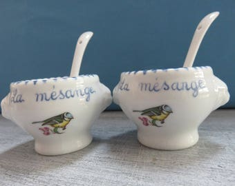 "Set of two mini decorated bowls ""Chickadee"""