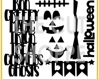 The Happy Haunting cut file set includes 7 Halloween themed images for your scrapbooking and papercrafting projects.